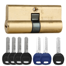 65MM Brass Key Cylinder Door Lock Security Travel Suitcase Luggage Bag Barrel High Security Anti Snap Bump Drill Pick with 7keys(China)