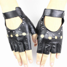 Fingerless Gloves 2017 Ms. Fashion Style Hollow Rivet Half Finger 100% Sheepskin Leather Drivers Variety Of Colors