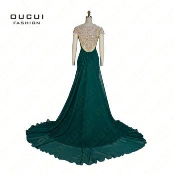 Réel Photos Perles Faites À La Main Femme Vert Formelle Longue Robe De Soirée Robes Parti Robe Rouge Bleu Couleur OL102678