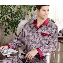 High Quality Silk pajamas paisley Men long-sleeved shirt + trousers two pieces Sleepwear Set Plus Size Pyjamas home clothes Male(China)