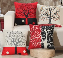 Red Black Wish Tree Printed Pillows Cover Cushions Cover Cotton Linen Bed Pillow Case Cover Bed Pillowcase Square 45x45cm B120
