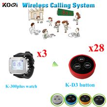 Waiter Server Paging Service System Durable Wristwatches Equipment ( 3pcs watch receiver + 28pcs call button)