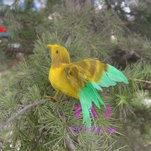 cute simulation bird model polyethylene & furs wings yellow&green model gift about 12cm 305(China)