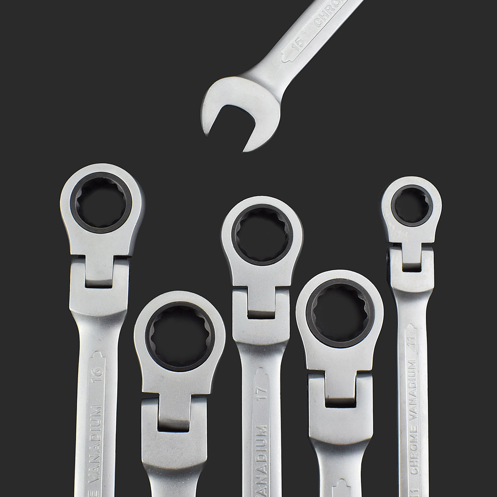 NEWACALOX Multifunction Flexible Head Ratchet Wrench Combination Professional Universal Wrench for Car Repair Tools 12 pcs/lot 18