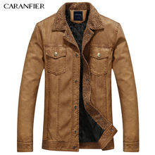 CARANFIER 2017 Winter Men Windproof Casual Leather Jacket High Quality Cotton Liner PU Male Leather Coat Motorcycle Jacket L~3XL(China)