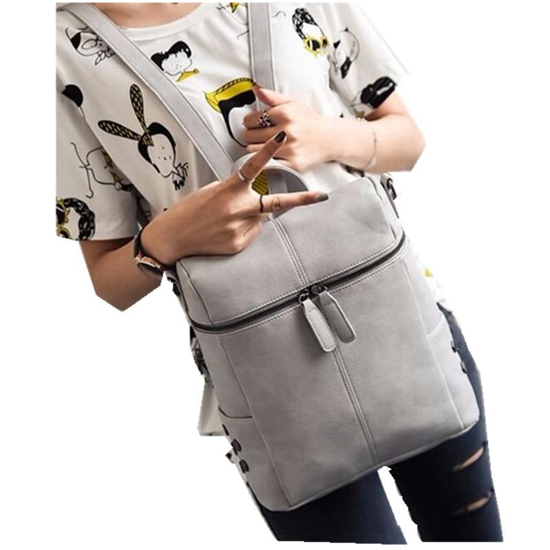 2017 Solid PU Leather Women Backpacks Vintage Travel Rucksack School Bags for Teenage Girls sac a dos femme Book Bag pack L107<br><br>Aliexpress
