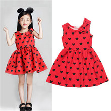 Newbaby 2017 Newest 1-6T Toddler Baby Kids Girls Princess Mouse mini Tank Party Dresses Cute Russia USA Korea