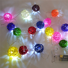 Christmas Outdoor Indoor 3M Led String Lights New Year Garden Party Decoration Ornaments Wedding Hand Weaved Rattan Ball Lantern