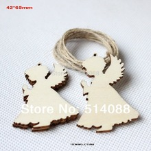 (50pcs/lot) 65mm unfinished unpaid wood angel rustic tags Christmas decor gift hanging tags-CT1062(China)