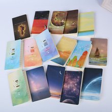 2PCS Mini Cute Ocean Series Notebook Wishing Bottle Childhood Fantasy Style Notepad Moon Star Universe Diary Portable Notebook