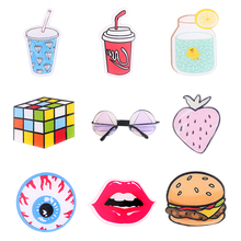 Japan Harajuku Acrylic Brooch Sexy Lip Beverage Bottle Hamburger Strawberry Cartoon Pin Unisex Fashion Jewelry Accessory