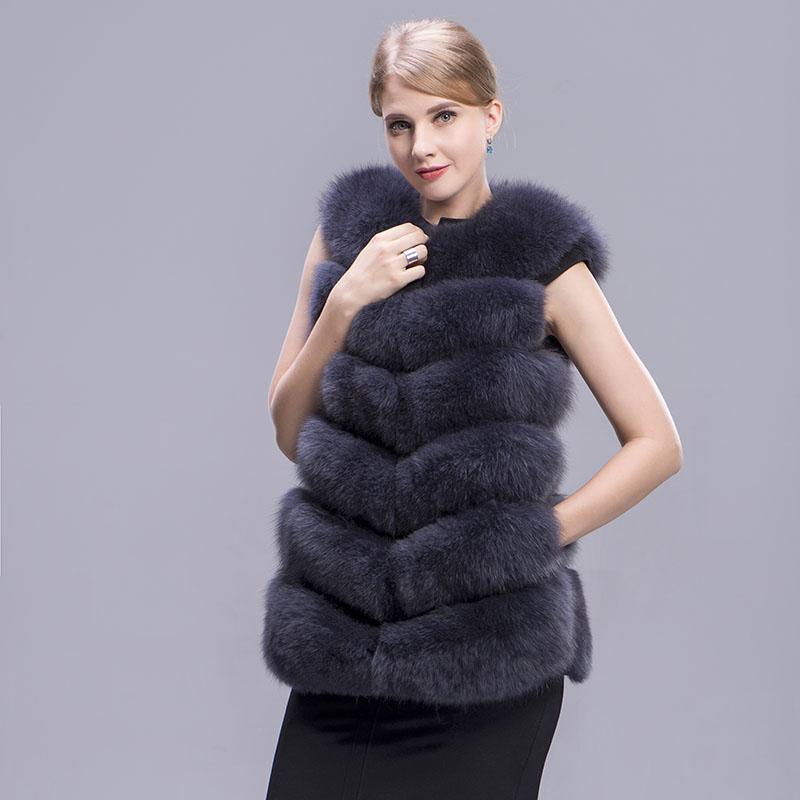 fox fur vest 6 lines dark grey 3