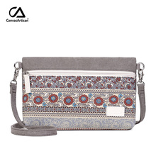 Canvasartisan brand 2017 women's shoulder bag canvas retro style floral handbags female small messenger bag women crossbody bags(China)