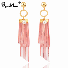 RAVIMOUR Punk Lace Earrings for Women Simulated Pearl Fashion Jewelry Long Tassel Drop Earring New Korean Boucle d'oreille Femme