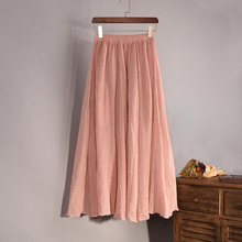 2017 Fashion Brand Women Top quality Cotton and  Linen Long Skirt Elastic Waist A-line Pleated Maxi Beach Vintage Summer Skirts
