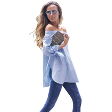 Hot Sale Sexy Fashion Bowknot Long Sleeve Blouse Casual Loose Blue Striped Off Shoulder Shirts Plus Size(China)