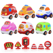 Hot Sale Kawaii Cartoon 3Pcs/set Inertia Car With Signs Resistance to Fall Vehicle Baby Education Toys The Best Gifts For Kids(China)