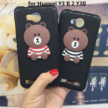 3D Soft Silicone Phone Case Cover for Huawei Y3 II 2 Y3II Lua-L21 Original Cute Back Covers Cartoon Cases Capa Funda Coque Shell(China)