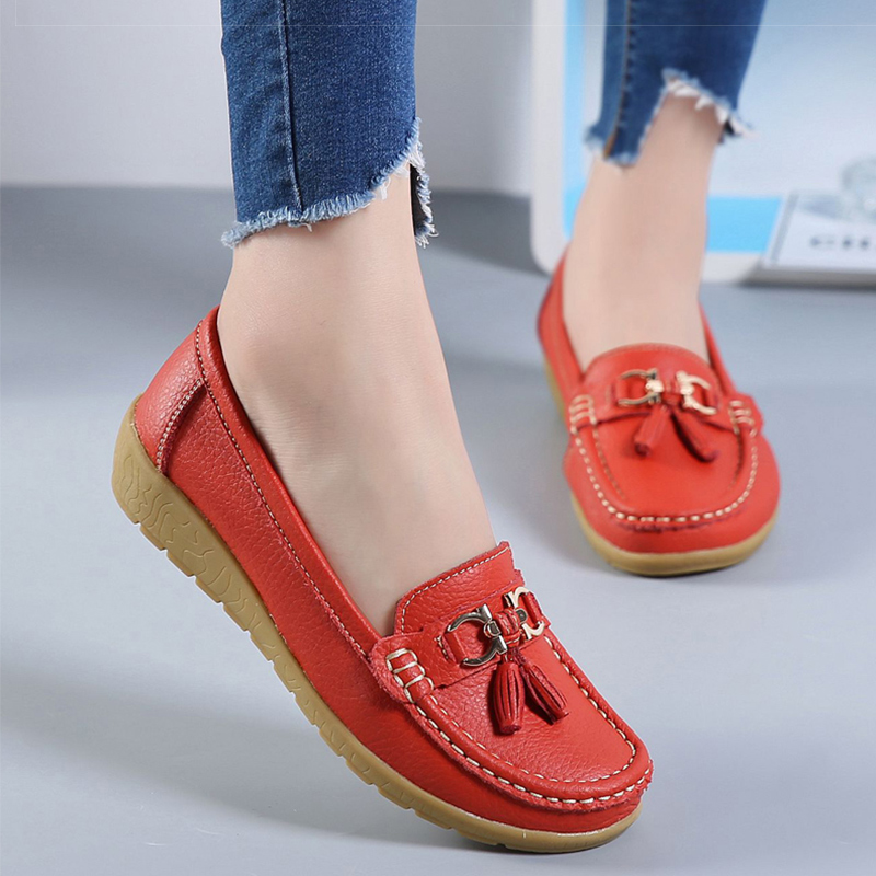 2018 Flats Woman Cow Leather Flats Women Shoes Slip On Women's Shoes Decoration Big Size 35-44(China)