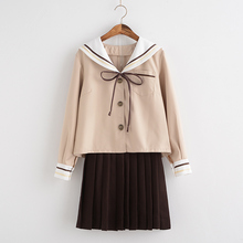 2017 winter High Quality JK Sailor Uniform Milky Tea Color full sleeve Shirt+Skirt Sets Japanese Sailor Uniform(China)