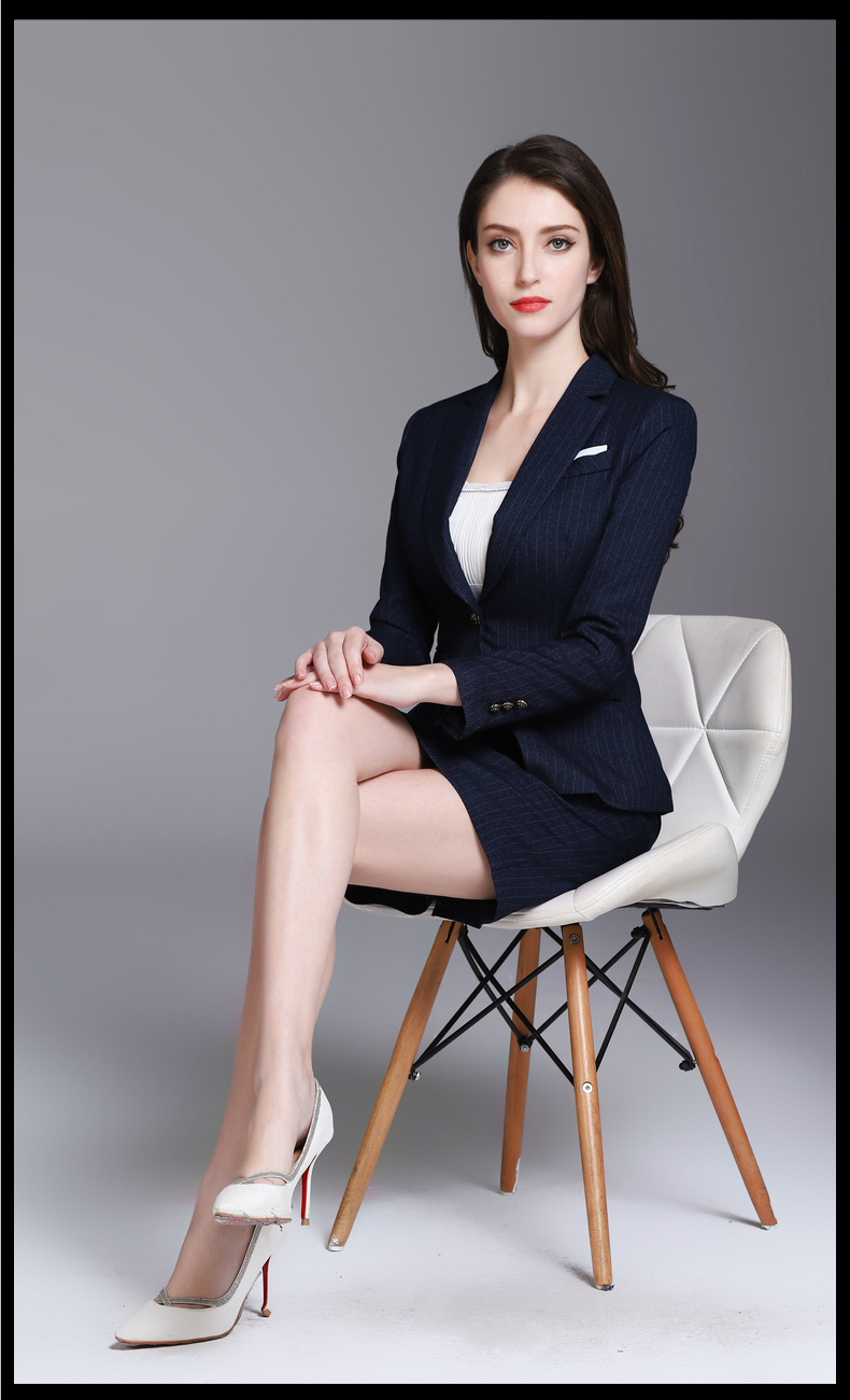 Grace Navy Stripe Goddess Suits Women's Skirt Suits Business Work Suits Office Lady Suits Custom Made 2 Piece Jacket/Skirt