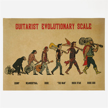 Vintage Retro Poster Evolution of rock music Wall Quotes stickers home decoration 42*30cm