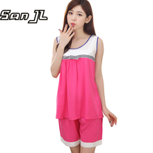 2017 Summer Style Nightgown Sets Female Sleep Set Women's Sleeveless Sexy Shorts Sleepwear Cotton Homewear Cheap Girl 6 Colors(China)