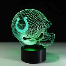 7 Color Change 3D Table Lamp Football Hat Colorful LED Visual Atmosphere Decor Rugby Cap Helmet NightLight Visual Light Fixture(China)