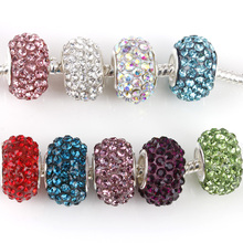 free shipping 1pc silver European round 11 colors crystal can choose big hole bead charm Fits Pandora Charm Bracelets A114(China)