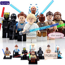 hao gao le 8PCS PG8028 Star Wars figures Savage Princess Leia Jedi Master Mace Windu Rebel Combat Building Blocks L Baby Toys(China)