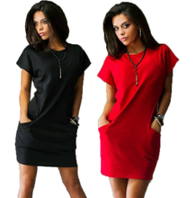 New fashion women casual mini dress Black and Red short sleeve o-neck Bodycon dresses Shirt dress Plus Size Vestidos