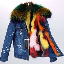 MAO MAO KONG 2017 Women's fashion dark blue denim fox fur short jacket coat 100% true raccoon fur collar bomber jacket DHL