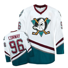 Mounttop Men's high quality Mighty Ducks Movie Jersey #96 Charlie Conway Hockey Jersey S, M, L, XL,XXL, 3XL white color