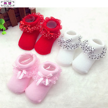 1 Pair High Quality Lovely Girls Princess Bowknots Kids Socks 0-6 Month Toddlers Infants Baby Cotton Ankle Socks(China)
