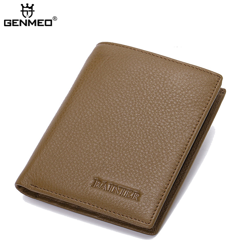 New famous designer genuine leather superior men wallet business style short shape litchi grain mens wallets clutch money bag<br>