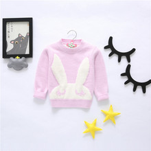 Baby Girl Knit Sweaters 2017 New Autumn/Winter Rabbit Patterns Crochet Tops Toddler Kids Sweater Children O-neck Coat