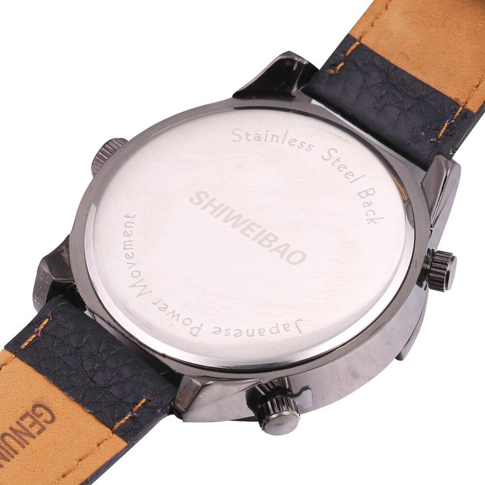top luxury brand shiweibao three time zones watches for men analog quartz men watch black strap big case wristwatches clock man free shipping wholesale (4)