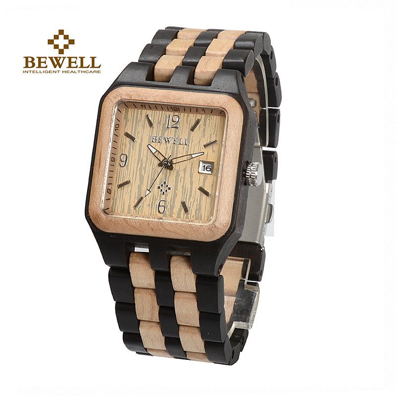 BEWELL W111A Square Quartz Wooden Watch Man Fashion Analog Luxury Wood Brand Watches Mens Casual Chronograph Male Wristwatch<br>