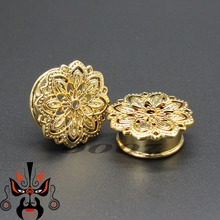 new copper ear plugs tunnels piercing body jewelry gauges sell in pair 10mm to 25mm in silver and gold color(China)