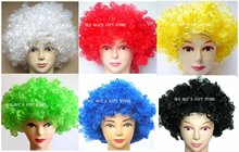 Free shipping! halloween party wigs,Colorful football fans wig,clown curly afro wig wig ,10pcs/lot