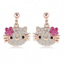 1Pair Cute Lovely Hello Kitty Stud Earring for Girls Rose Gold Plate Austrian Crystal Cat Flower Earings(China)