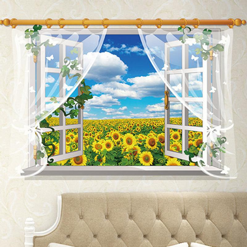 HTB1rxmshpGWBuNjy0Fbxh64sXXap - 3D Window View Nature Landscape Wall Sticker  For Living Room