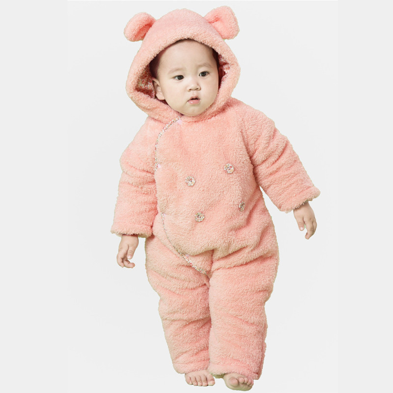 Cute Winter Warm Longsleeve Coral Fleece Infant Newborn Baby Romper Cartoon Coveralls Boys Girls Animal Clothes CL0428<br><br>Aliexpress
