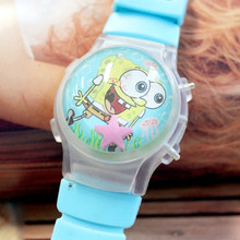 10Pcs/Lot Kids' Lovely Sponge Baby Waterball Cartoon Watch With Flashing Lights Silicone Children LED Wristwatches With Calendar