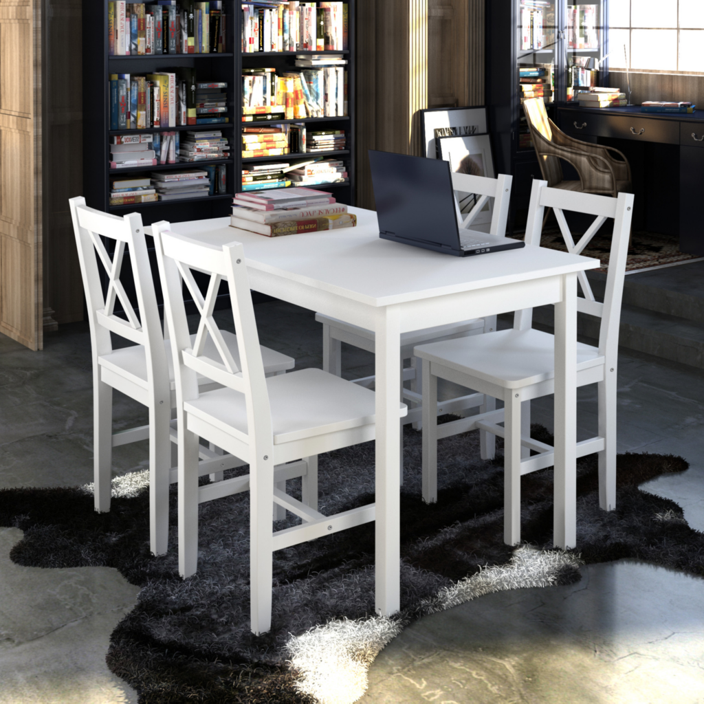 Wooden Table With 4 Wooden Chairs Furniture Set White Solid