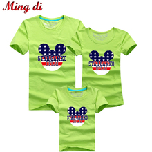 Ming Di Mother & Kids Summer Cartoon T shirts 95%Cotton Fashion Family Matching Outfits Brand Children's Clothing Women Clothes