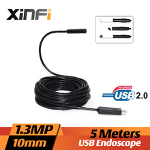 Xinfi 10mm 1.3MP USB Endoscope 5M cable mini sewer camera Borescope for PC windows USB pipe camera Snake Camera car inspection
