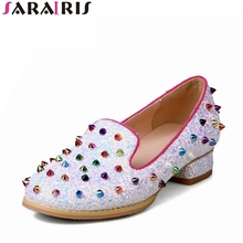 SARAIRIS 2018 Spring Autumn Brand Colorful Rivet Pumps Shallow Plus Size 32-48 Shoes Woman slip-on Fashion Casual Shoes Women(China)
