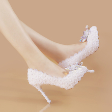 Autumn Spring white wedding shoes slipper with Rhinestones all-match bride shoes white lace flowers(China)