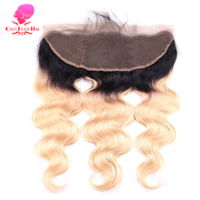 QUEEN BEAUTY Remy Brazilian Hair Body Wave 13*4 1B 613 Two Tone Dark Root Ombre Blonde Lace Frontal Closure Piece with Baby Hair
